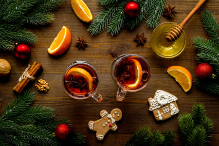 Overhead view of mulled wine - hot drink with for Christmas and winter time 版權商用圖片