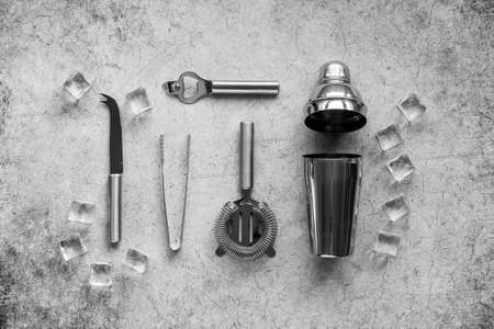 Cocktail bar utensils and tools with shaker, strainer and ice