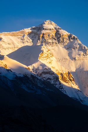 Sunset view of mountain Everest. Stock Photo