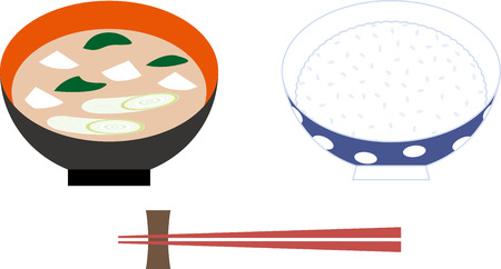 cooked rice: Rice in Japan Illustration