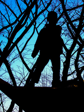 Silhouette of a boy Zdjęcie Seryjne