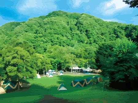 midsummer: Camping Illustration