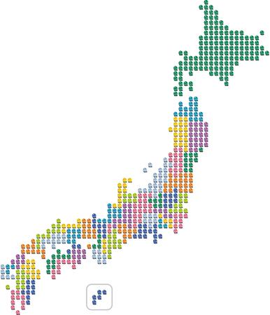 Japan map marbles Ilustracja