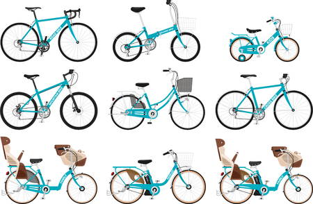 A set of various types of bicycles