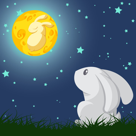 look up: Gray rabbit look up the yellow rabbit in the moon