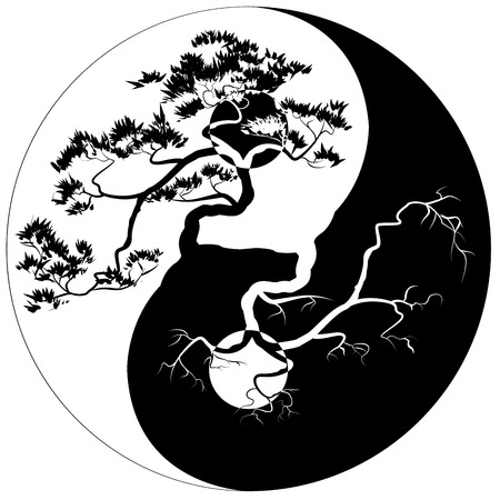 Black and white Bonsai tree on the Yin Yang symbol Stock Illustratie