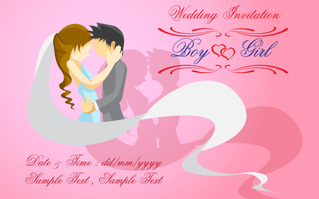 girl in red dress: Groom and bride with sample text on pink background