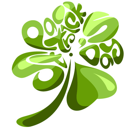shamrock background: Green vector text like a four leaves shamrock shape