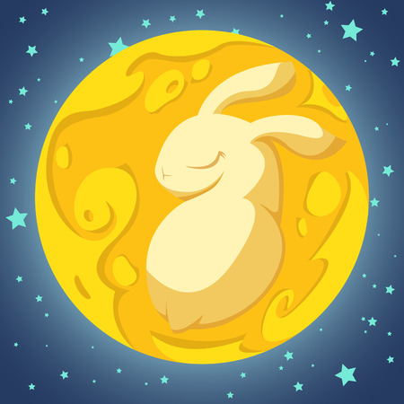Yellow rabbit in the moon on the blue background Çizim