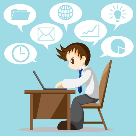 Cartoon vector of hard working office worker with icon Çizim