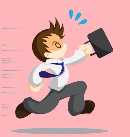 Cartoon vector of running office worker Çizim
