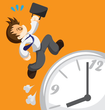 Cartoon of running office worker on clock
