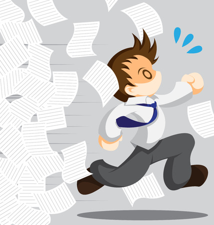 tried: Cartoon vector of running office worker from work