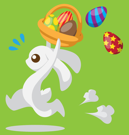Running bunny with Easter egg and basket