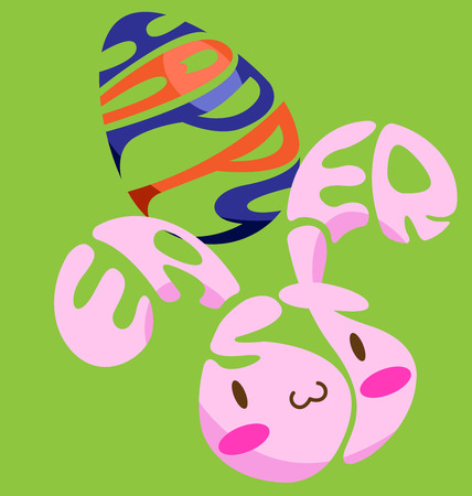 Easter text vector look like egg and bunny Çizim