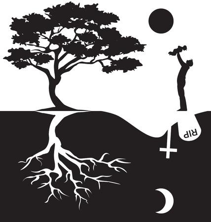 Silhouette of man and tree Çizim
