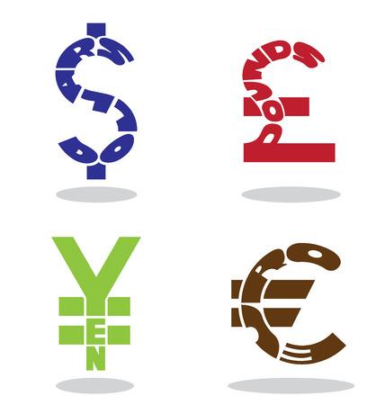 monetary: Text in monetary symbol shape