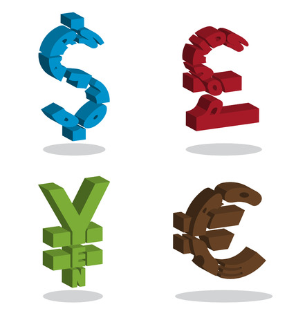 monetary: Text in monetary symbol shape 3D