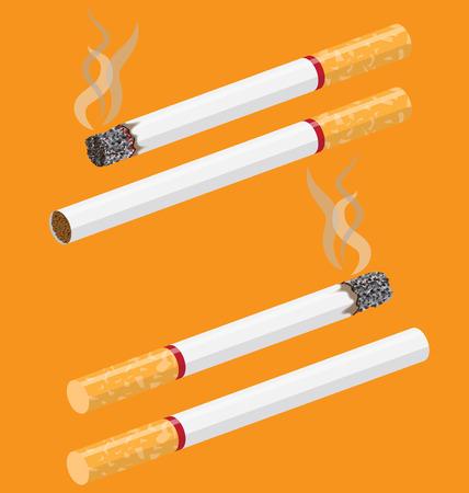 toxic substance: Cigarette vector on orange background with smoke Illustration