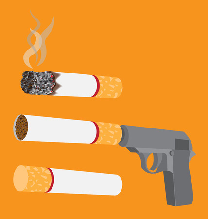 Gun with a cigarette instead of silencer Vector