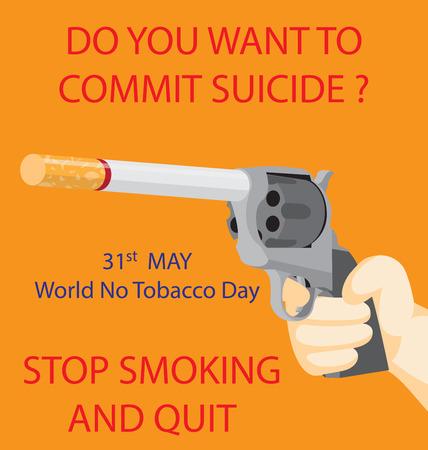 Gun with a cigarette instead of barrel Çizim