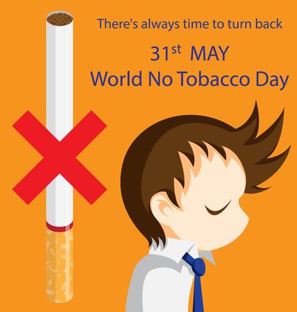 turn back: Man who turn back from smoking Illustration
