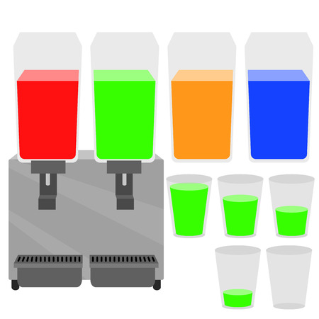 Vector of cold drink dispenser machine and glass with water level