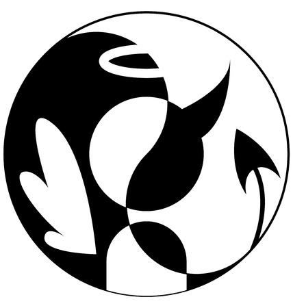 Silhouette of angel and demon in Yin Yang symbol Çizim