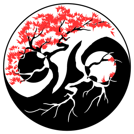 Black and white Bonsai tree in the Yin Yang symbol Çizim
