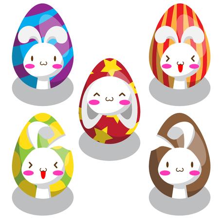 Five sets of Easter bunny on Easter egg