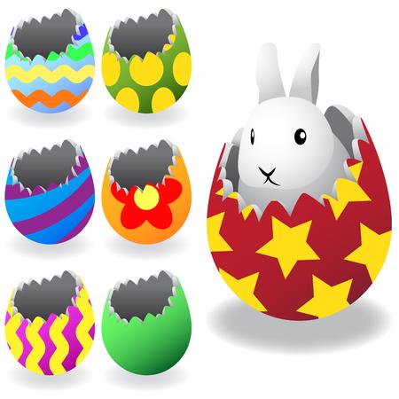 Gray Easter bunny in broken egg