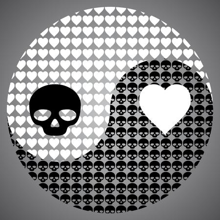 Black skull and white heart in Yin Yang symbol