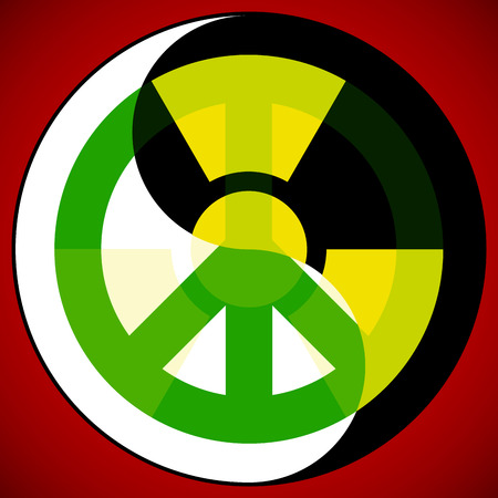 Nuclear icon and peace icon in Yin Yang symbol