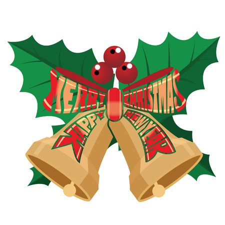 The text Merry Christmas and Happy New Year in ribbon shape Çizim