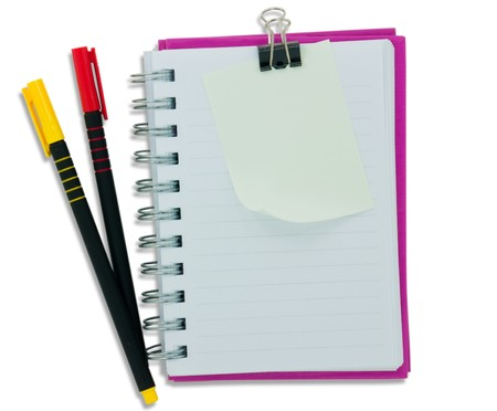 NoteBook  blank page and colour pen photo