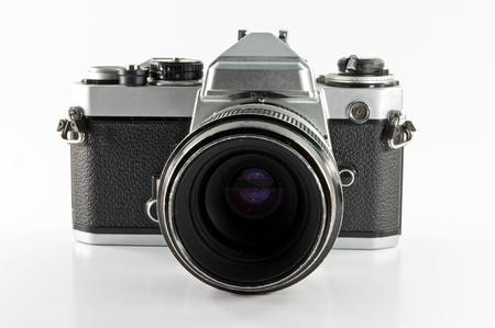 old photo camera isolated on white background photo