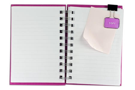 blank page of note book and note pad on white isolate, whith cliping path photo