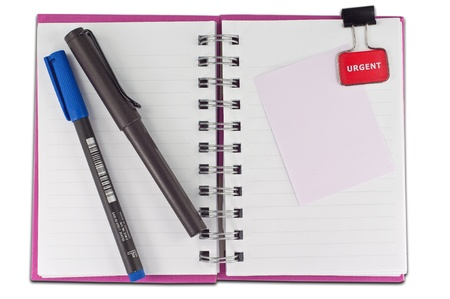 things to do: blank page of note book Notebook and office supplies on white isolate,whith cliping path Stock Photo
