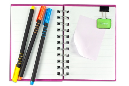 blank page of note book Notebook and office supplies on white isolate,whith cliping path photo
