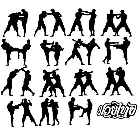 Muay Thai martial art vector illustration collection