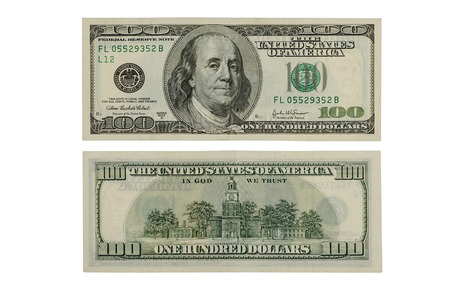 dollars: 100 dollars isolated on a white background   Clipping path included Stock Photo