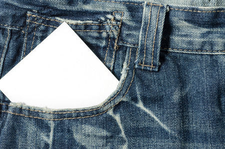 Blank note in a jeans pocket photo