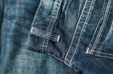 デニムのポケットのクローズ アップ。ジーンズのポケットのテクスチャ背景 写真素材