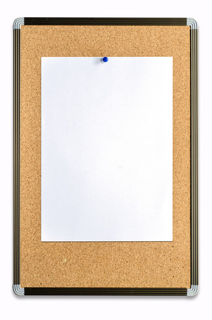 closeup of blank note paper on cork board  photo