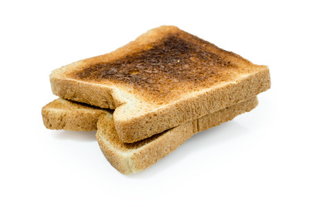 sanwich: dark burned sandwich bread isolated white background  Clipping path included