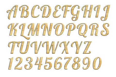 High quality scan of letterpress uppercase alphabets - A to Z  Nice wood  style