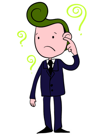 A Vector Illustration of a Confused Business Man Cartoon Character  Vector