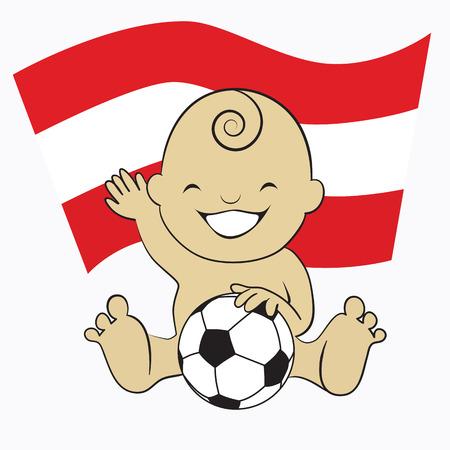 Baby Soccer Boy with Austria Flag Background  cartoon illustration Vector