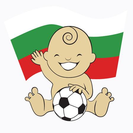 Baby Soccer Boy with Bulgaria Flag Background  cartoon illustration Vector