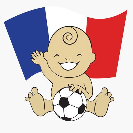 Baby Soccer Boy with France Flag Background  cartoon illustration Vector